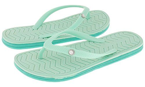 321636a090d6 Capelli New York Textured opaque jelly thong with gem trim Ladies Flip Flop  Mint 7 -