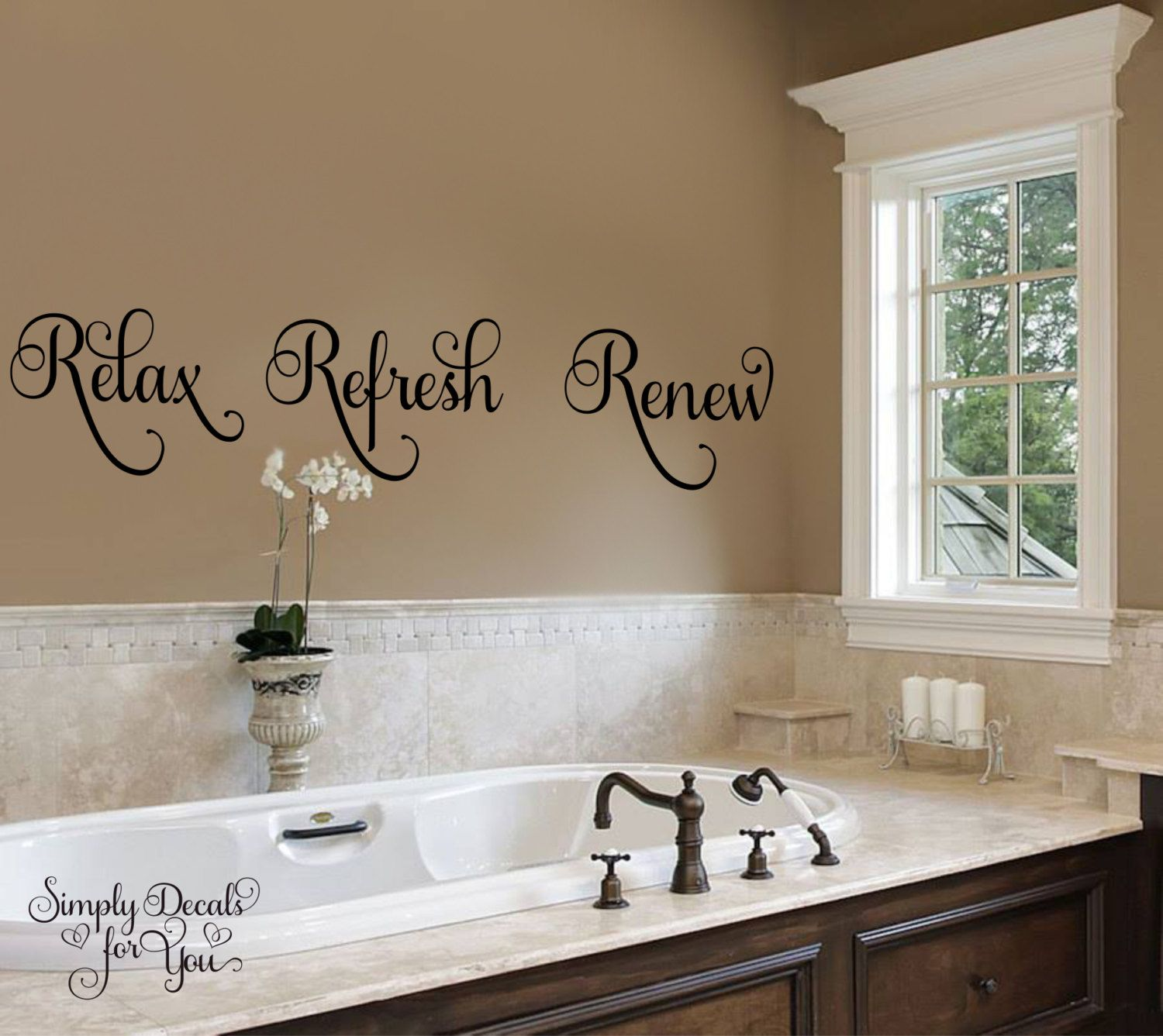 Vinyl Wall Decal Relax Refresh Renew Bathroom Wall Decal Bathroom Decal