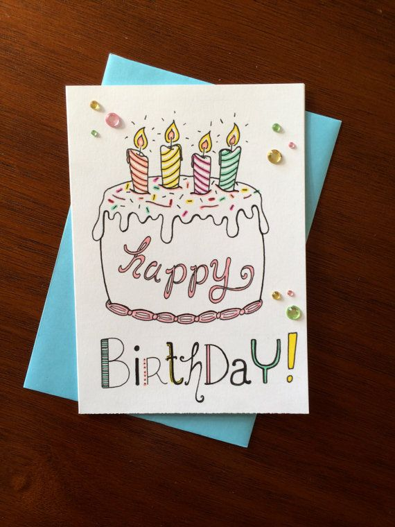 Happy Birthday Card Cake Hand Illustrated By Fedeledesign 6 00