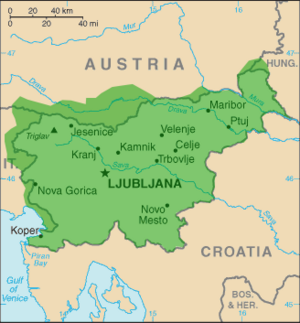 Map of Slovenia The country lies in South Central Europe in the