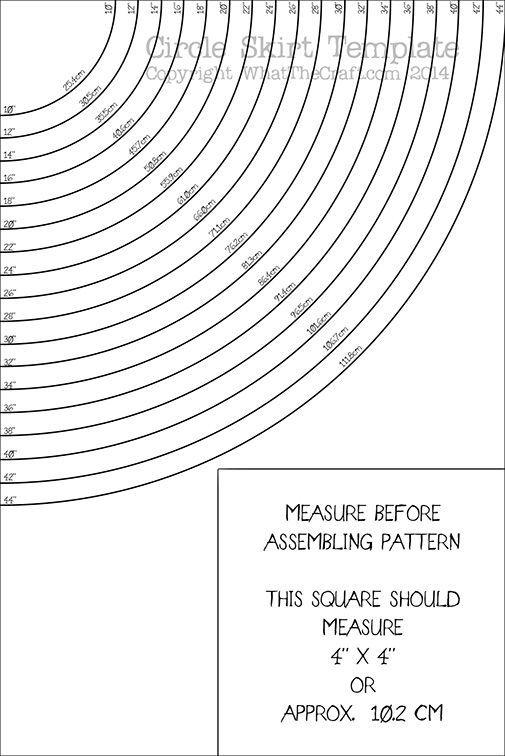 Circle Skirt template Printable PDF Pattern : WhatTheCraft Pattern ...
