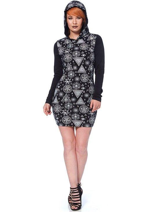 """Women's """"Symbols"""" Hooded Dress By Jawbreaker (Black"""