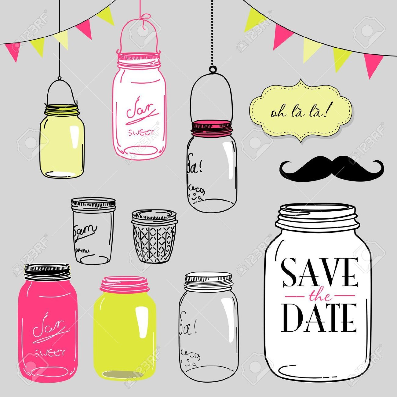 Glass Jars Frames And Cute Seamless Backgrounds Ideal For Wedding