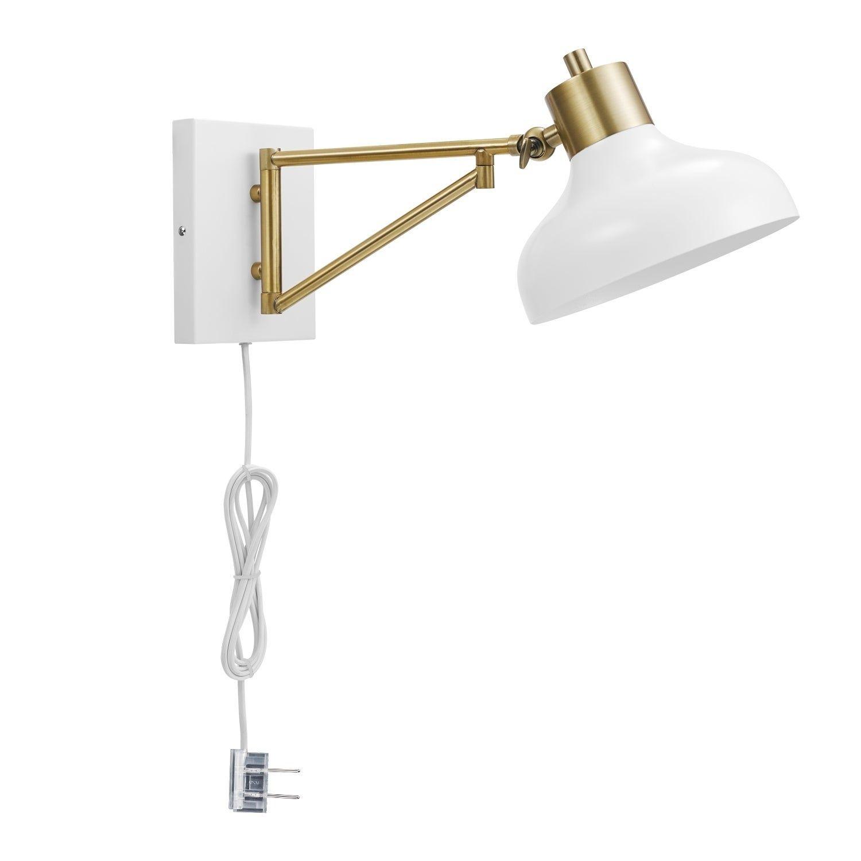 Shop Berkeley 1 Light White Brass Plug In Hardwire Swing Arm Wall Sconce On Sale Ships T Swing Arm Wall Sconce Farmhouse Wall Sconces Plug In Wall Sconce