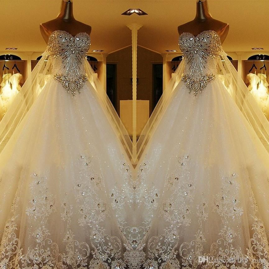 Ball Gown Wedding Dresses With Bling And Sweetheart Neckline