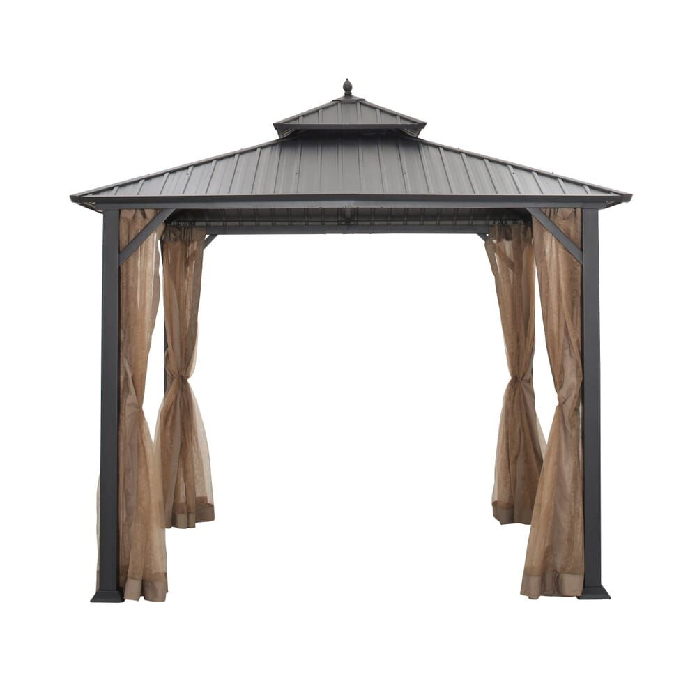 Hampton Bay 10 Ft X 10 Ft Holden Outdoor Patio Black Hard Top Galvanized Steel Gazebo Tpgaz9011 The Home Depot In 2020 Steel Gazebo Gazebo Rustic Pergola
