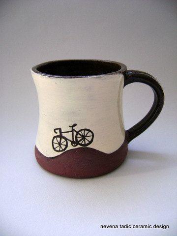 Ceramic  bike mug,  via Nevena Tadic on Etsy.
