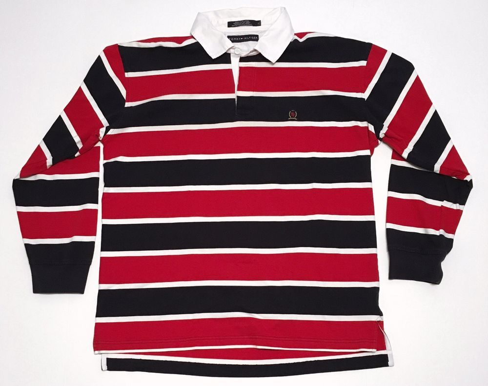 White Navy Blue Striped L S Rugby