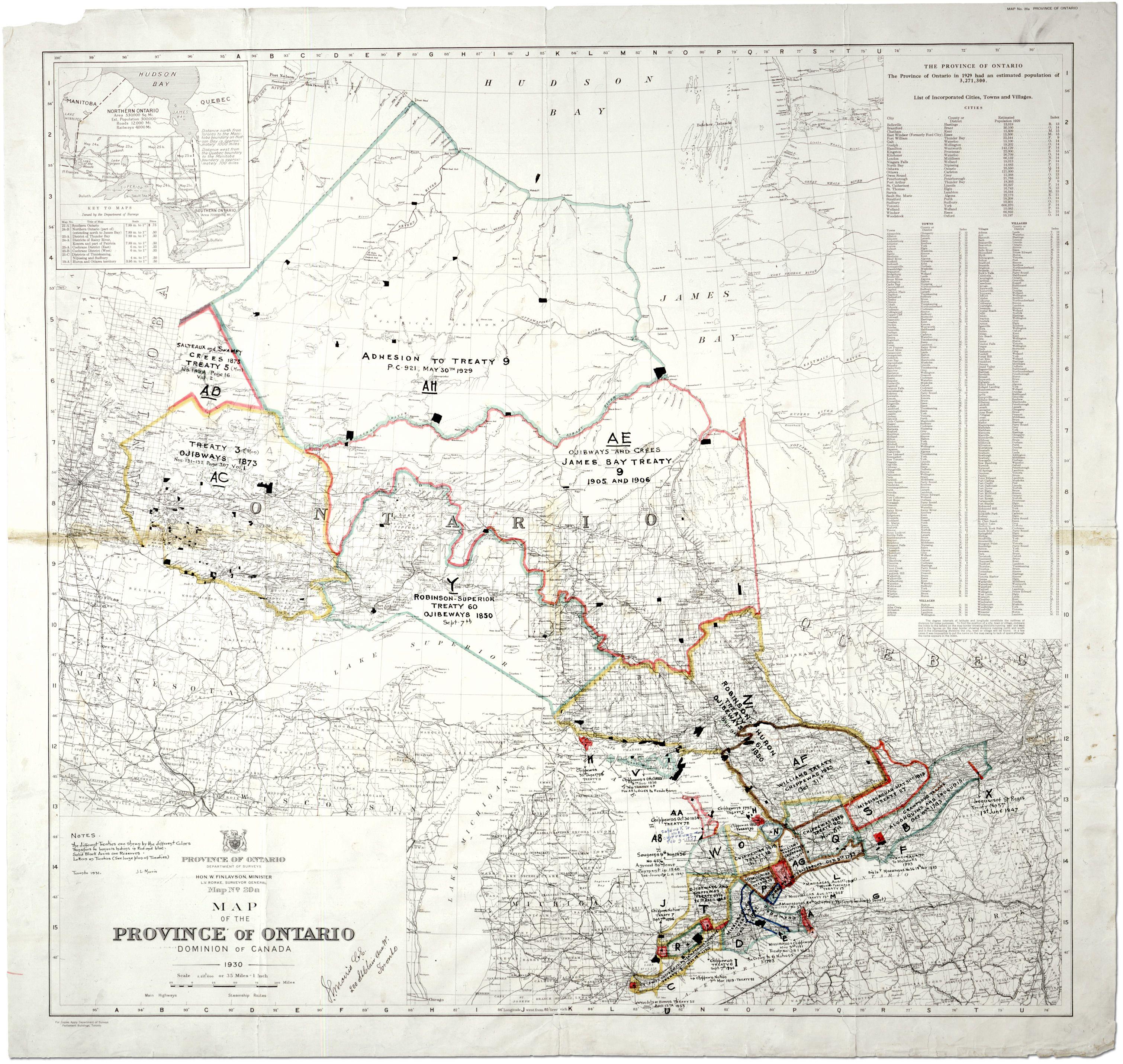 Map showing Indian treaties in Ontario | Treaty | Cree