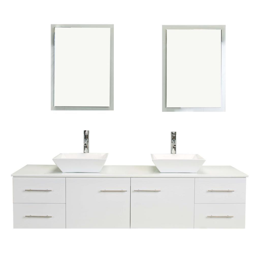 Eviva Totti Wave 60 In W X 16 In D X 22 In H Vanity In White