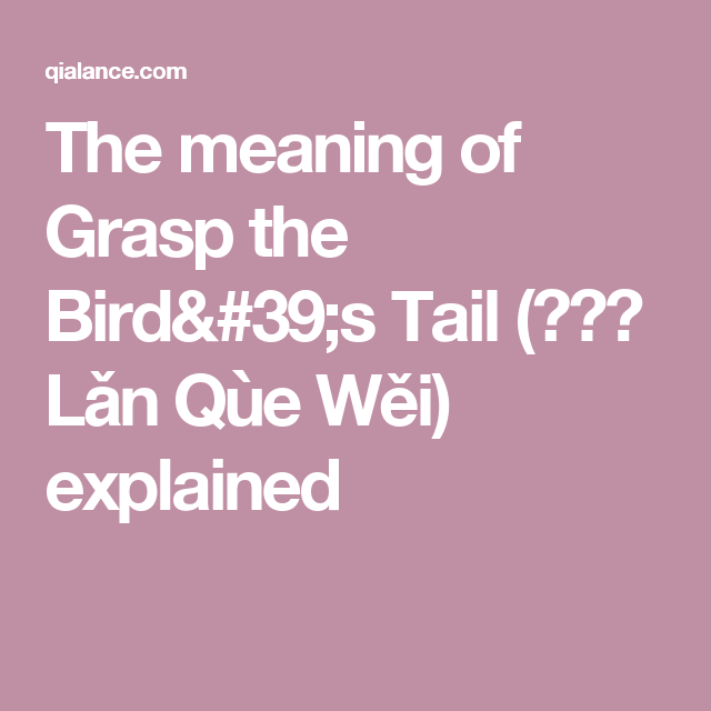 The meaning of Grasp the Bird's Tail (揽雀尾 Lǎn Qùe Wěi) explained