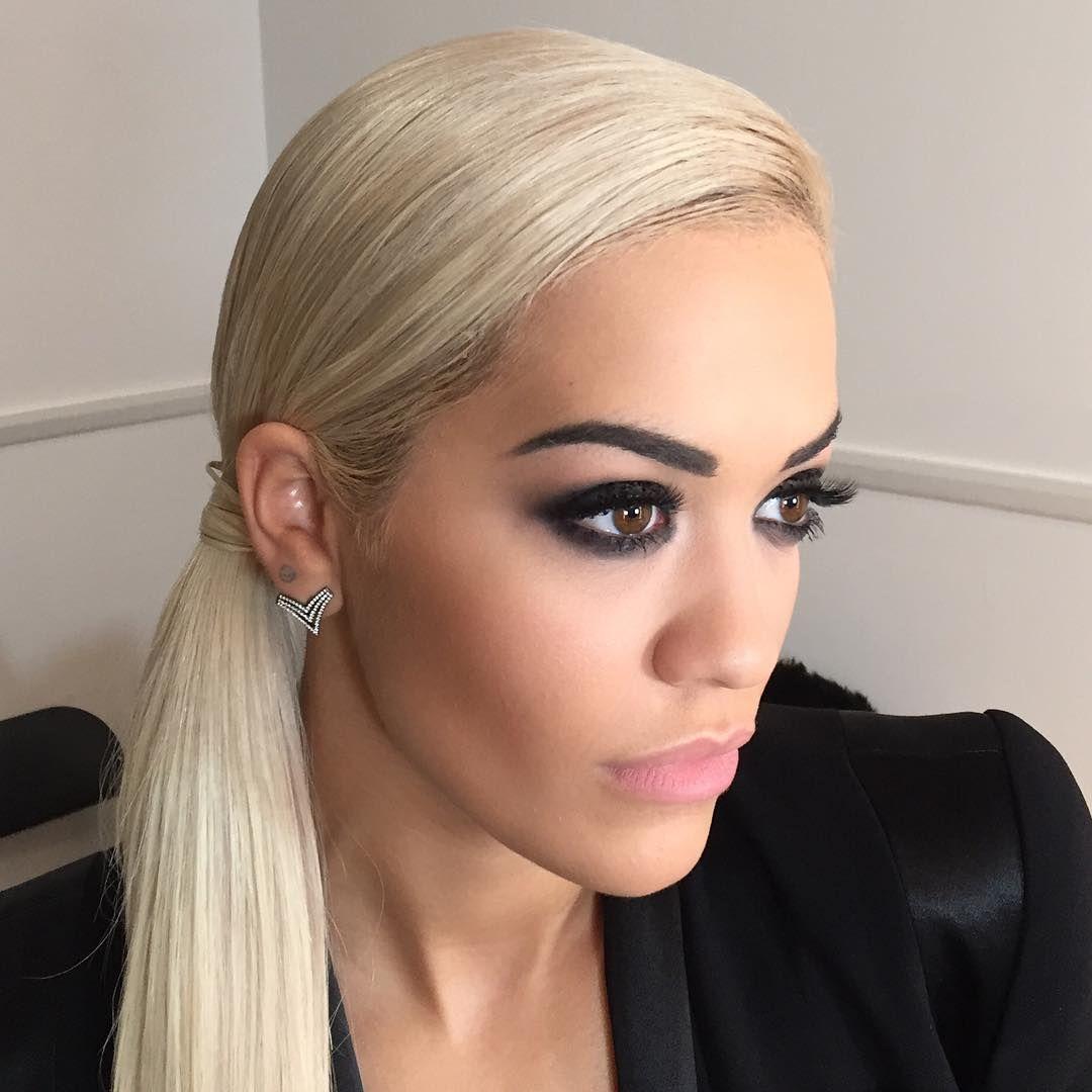 Trending Hairstyles Trending Hairstyle Rita Ora In Wrap Around Sleek Side Ponytail At