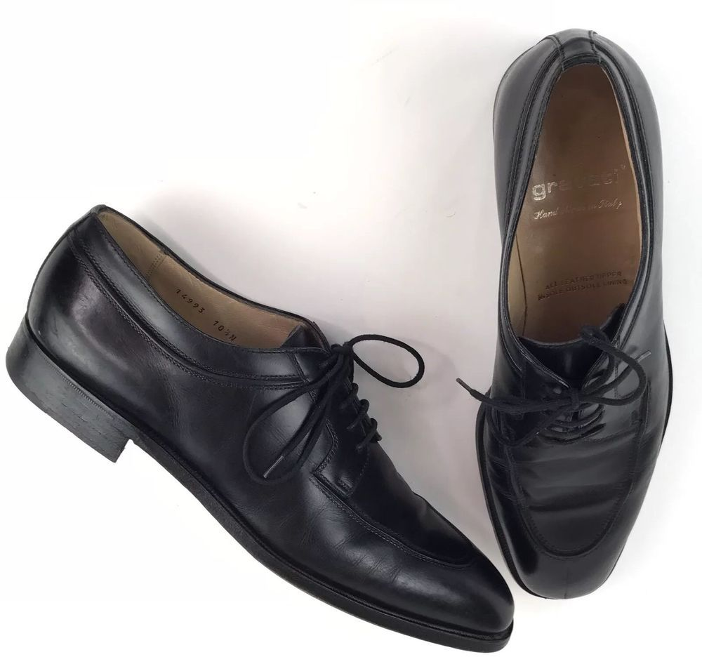 GRAVATI Mens Black Spilt Toe Lace up Dress Shoes Hand Made