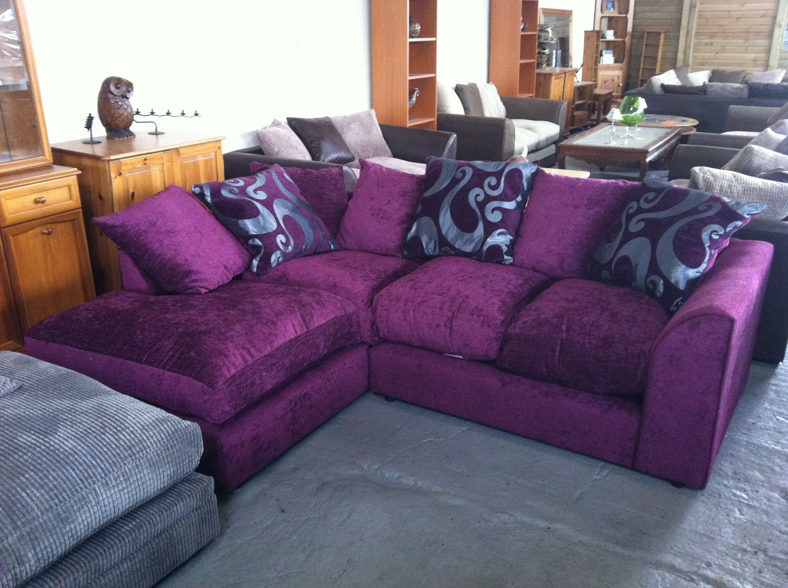 Sweet L-shaped Velvet Purple Sofa On Gray Rug As Decorate ...