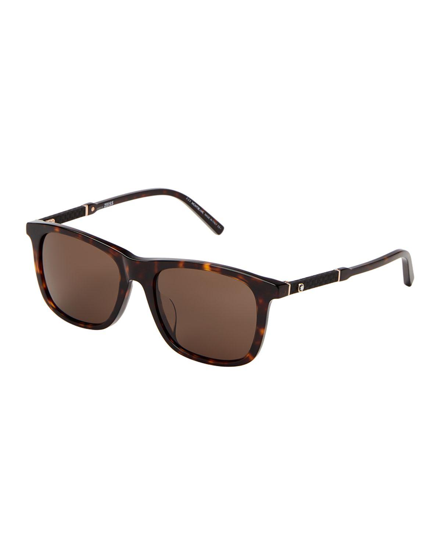 81c04ec61fce2 Montblanc MB606S-F Tortoiseshell-Look Square Sunglasses