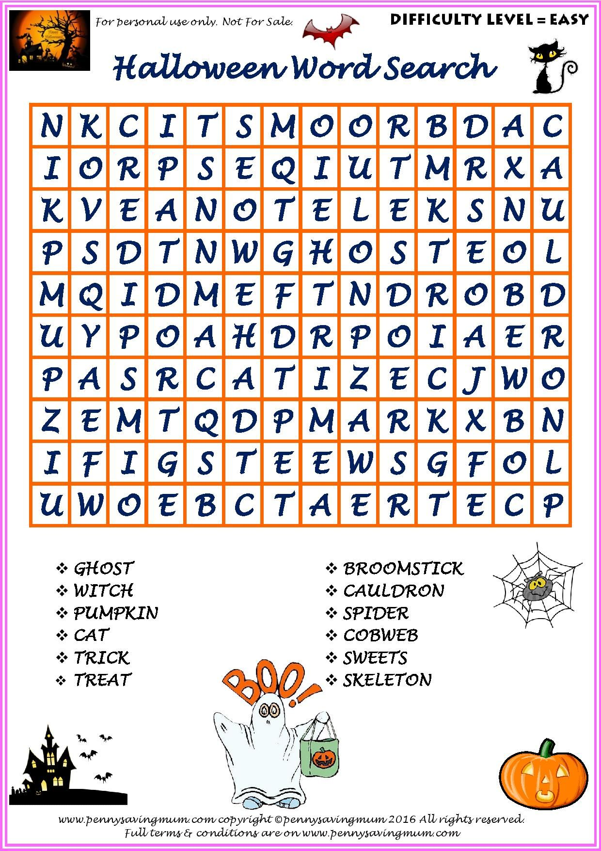 Word Search Halloween Easy Version