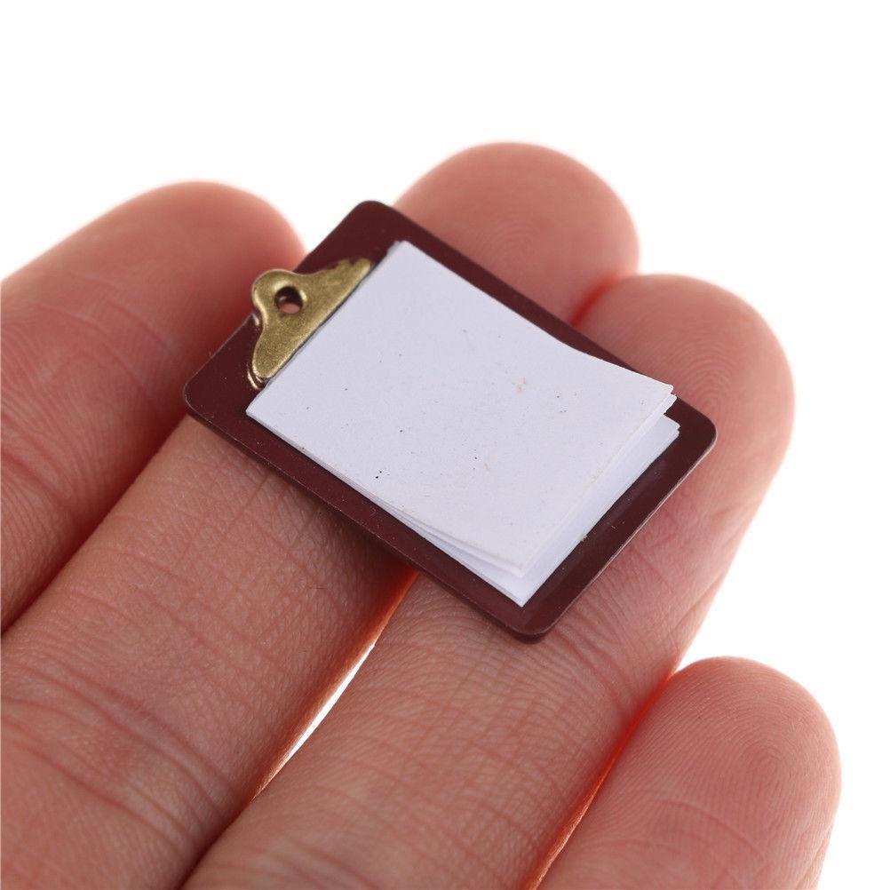 Mini Dollhouse Miniature Accessories Alloy Clipboard with Real Paper AttachDO
