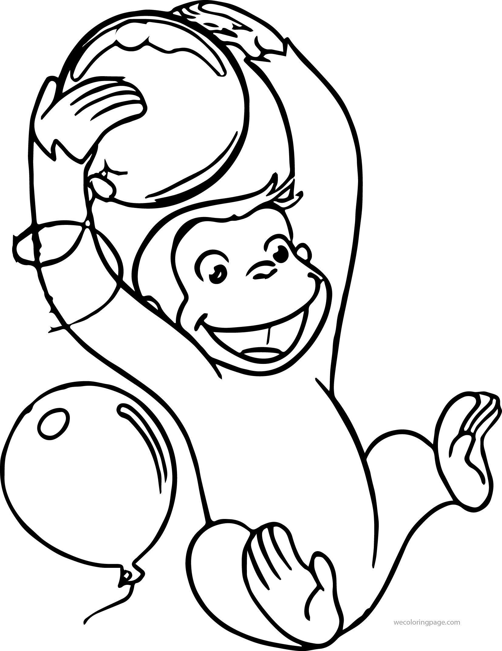 Awesome Curious George Supershape Foil Balloon Coloring Page