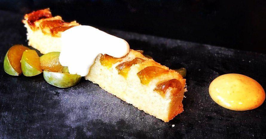 Frangipane tart, greengage, creme fraiche
