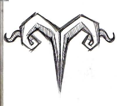 Zodiac Aries Symbol Tattoo Drawing   Tattooshunter.com ...