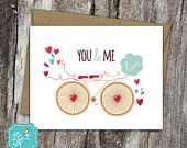 You and Me Card, Love Card, I love you, I like you, Thinking of You, Bicycle, Blank Card, Birthday card, Just for fun card, Just because