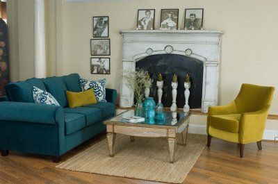 Love Teal And Mustard Blue Sofas Living Room Blue Sofa Living Living Room Green