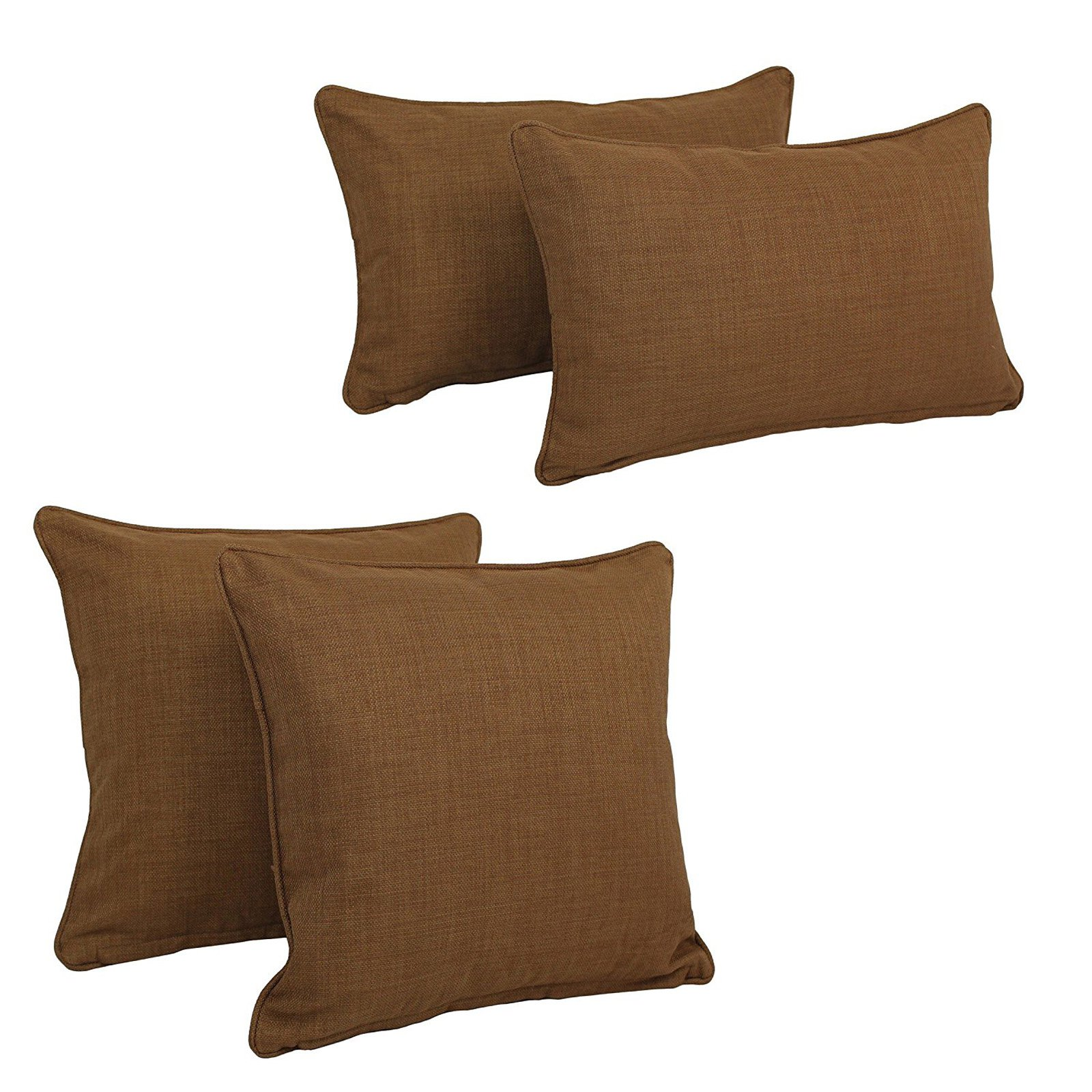 Blazing Needles Reo 4 Piece Outdoor Decorative Pillow Set Mocha