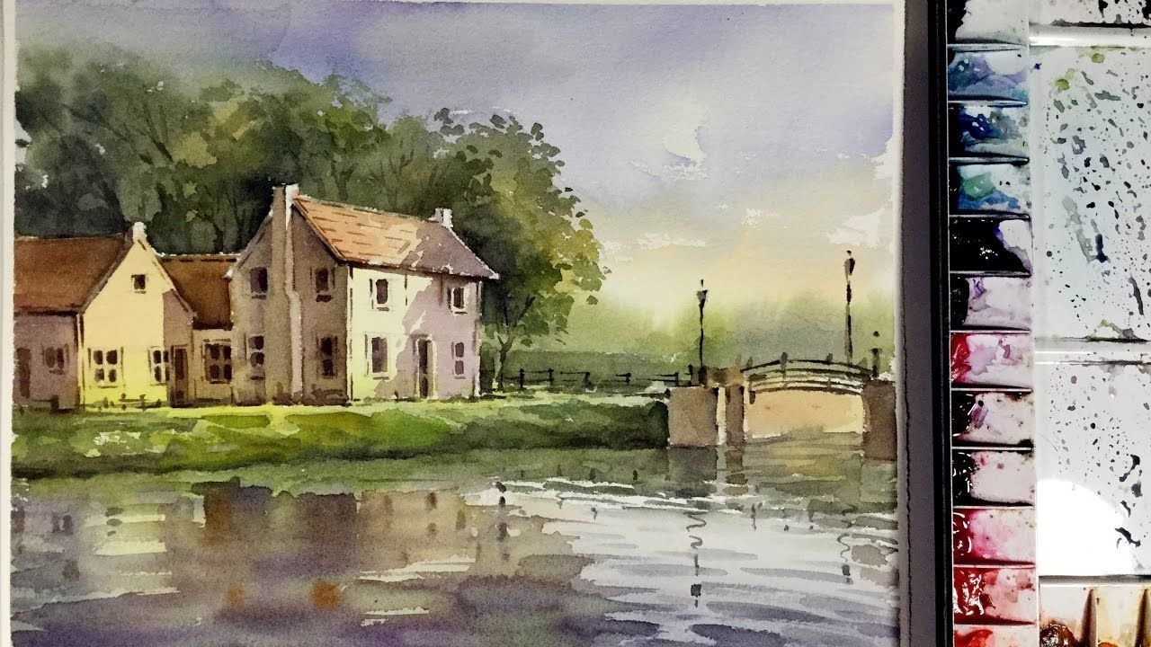 Watercolor Painting The Houses On The Riverbank Watercolor