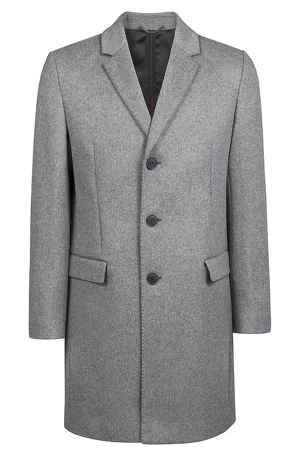a3a58bafaa9 HUGO BOSS Slim-fit coat in melange virgin wool with cashmere - Grey Casual  Coats from HUGO for Men in the official HUGO BOSS Online Store free shipping