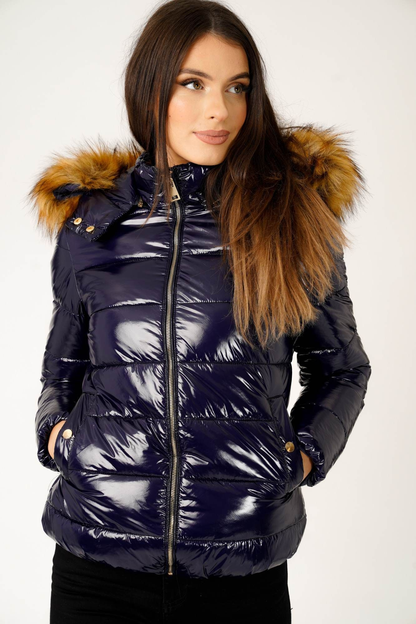 Wet Look Padded Jacket with Faux Fur Hood in Shiny Navy in
