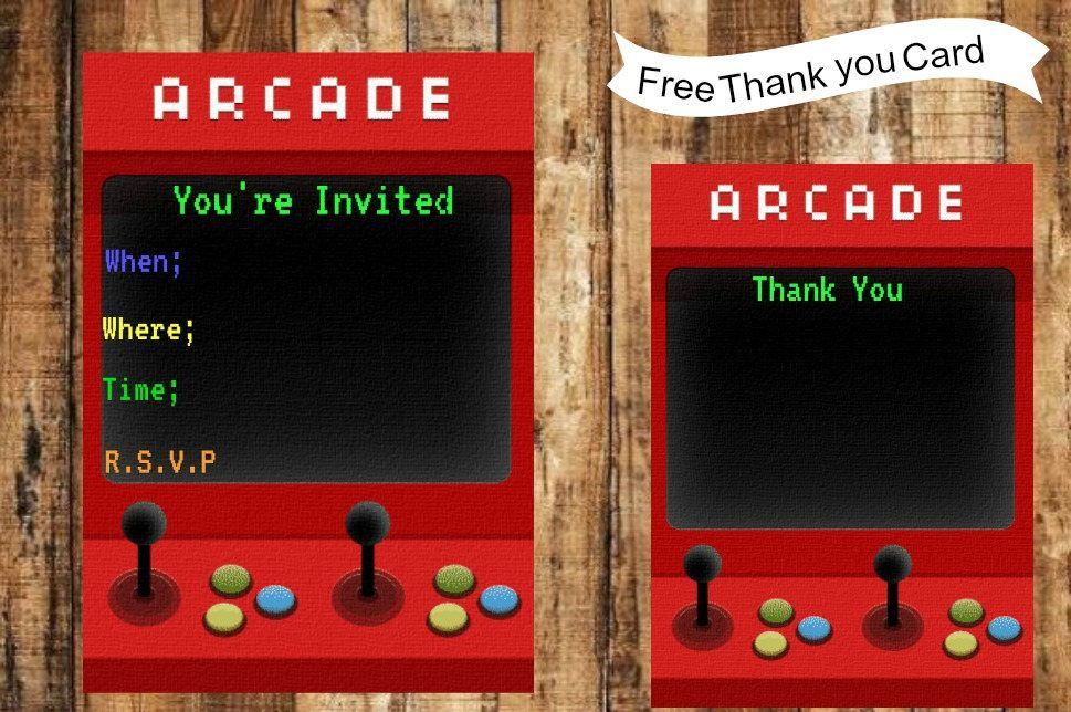 Arcade Birthday Party Invitation Arcade Birthday Party Thank You