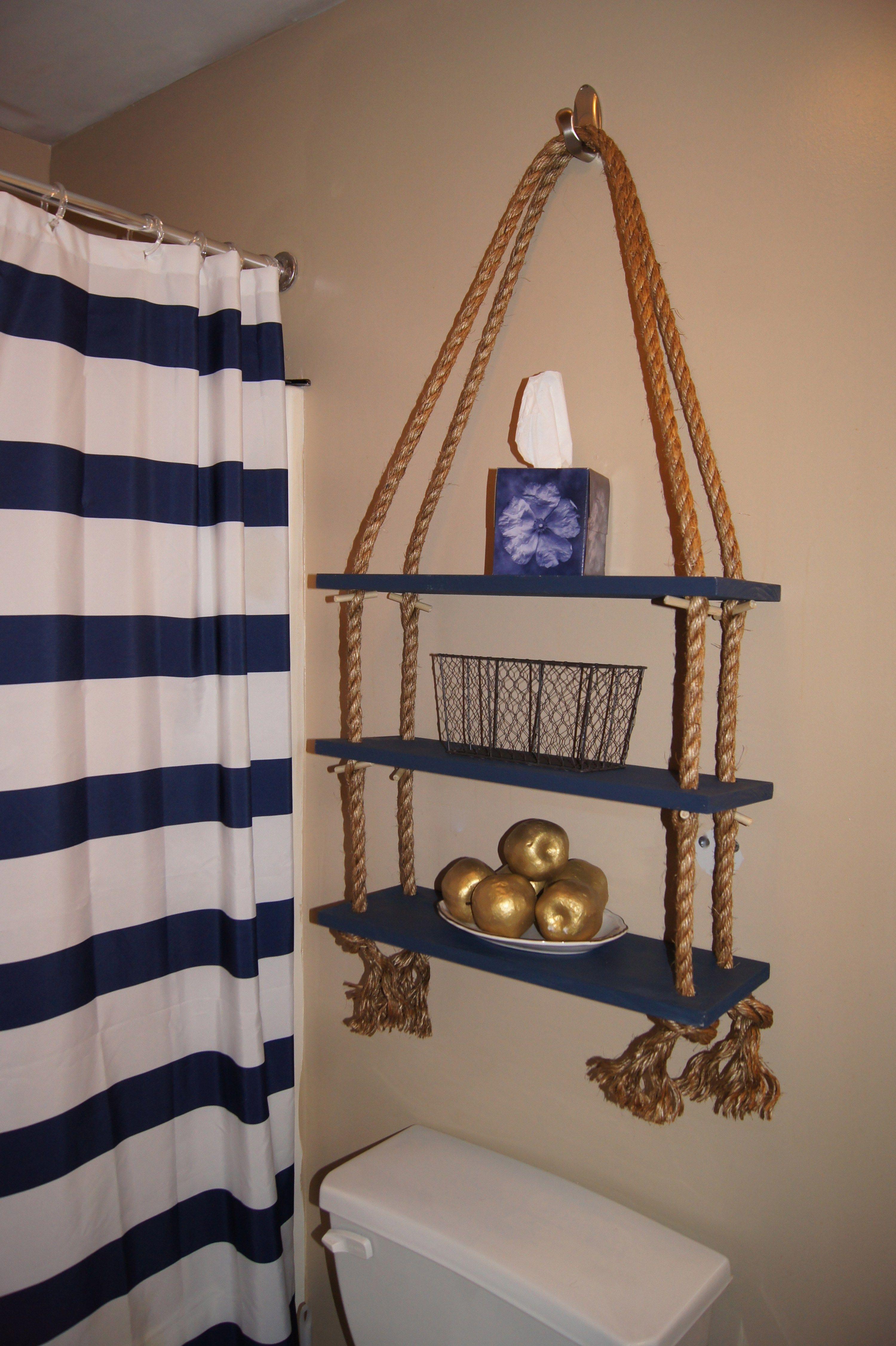 excellent nautical bathroom accessories | Apartment Décor DIY: Nautical Rope Shelf | Nautical ...