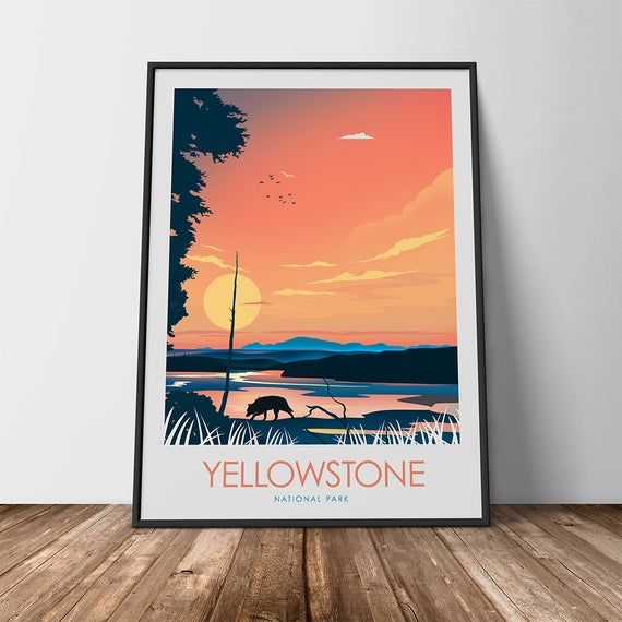 The Wolves of Yellowstone National Park Art Poster Print Minimalist Poster, Print, Film Poster, Art Print Home Decor Wall Art, Poster, Art #filmposterdesign