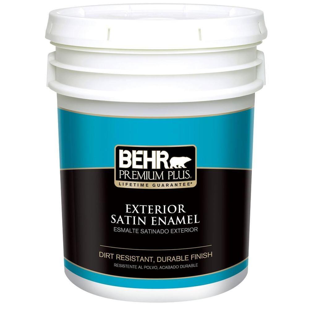 behr premium plus 5 gal medium base satin enamel exterior on home depot behr paint id=28926