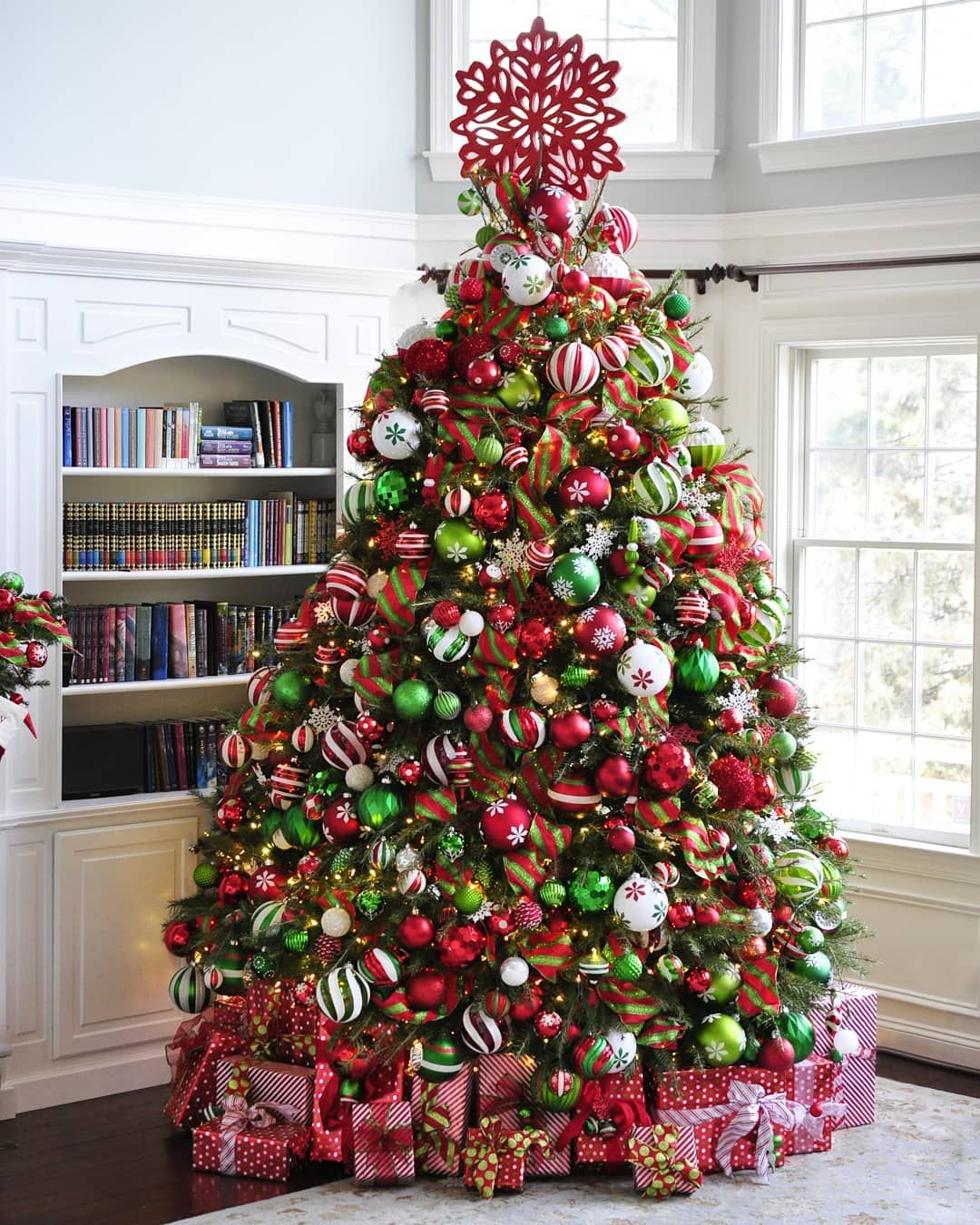 Merry Christmas This Is An All Natural 11 Foot Douglas Fir Bedecked In As Much With Images Red Christmas Tree Green Christmas Tree Decorations Christmas Tree Inspiration