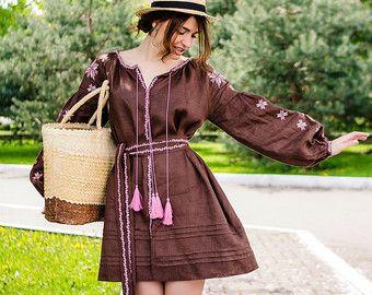 Vintage fashion Old Ukrainian dress Boho style Folk short shirt Geometry and floral pattern Beautiful embroidery Antique woman clothing