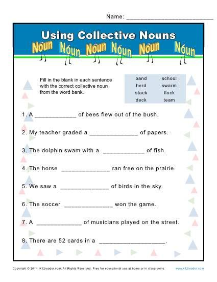 Collective Noun Worksheets Methods Pinterest Collective Nouns