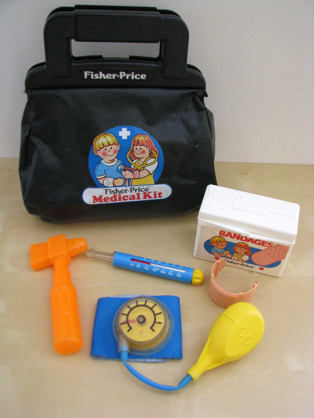 Fisher Price 1980s Doctor's Bag and Toy Medical Stuff