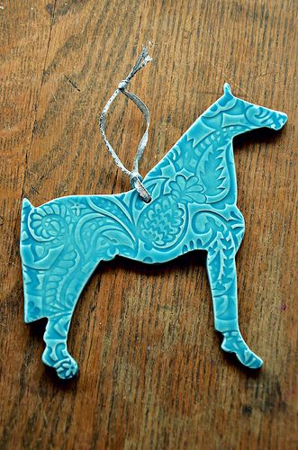 Hand crafted ceramic horse ornament came from Shepherds Grove Studio