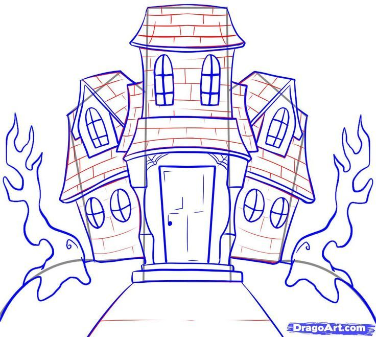 Image result for draw halloween art on the computer for How to draw a two story house step by step