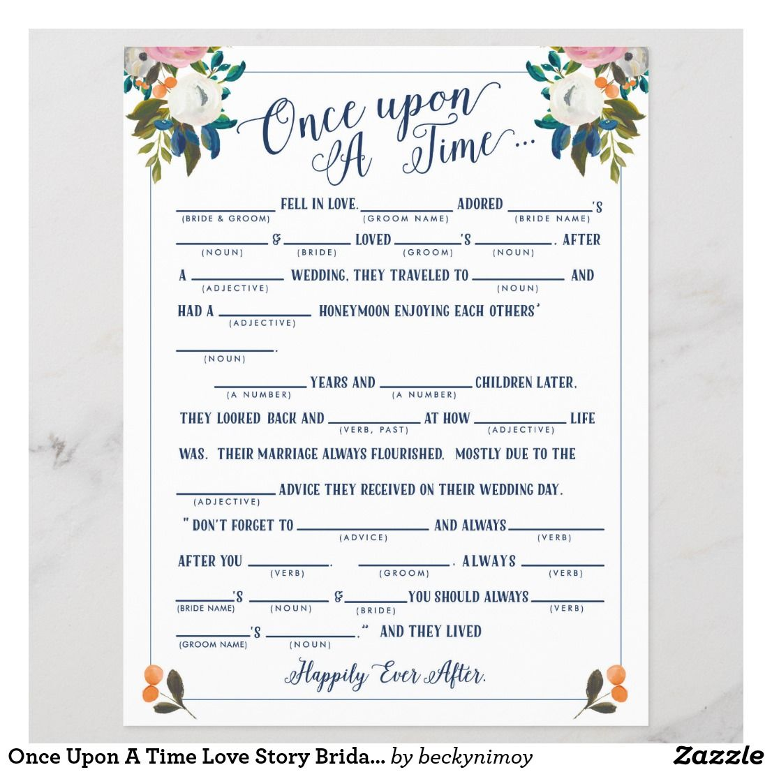Once Upon A Time Love Story Bridal Libs Game Zazzle Com Fun Bridal Shower Games Bride Shower Games Bridal Shower Games