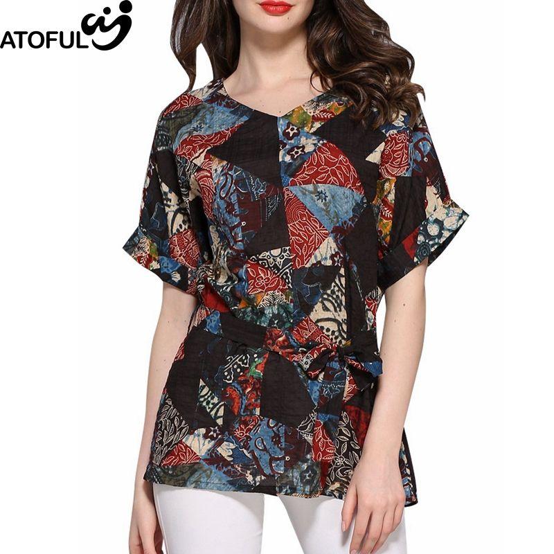 40b1223a741 ATOFUL Retro Plus Size 4XL Slim V Neck Blouse Women Geometric Pattern Print  Tops Short Sleeve