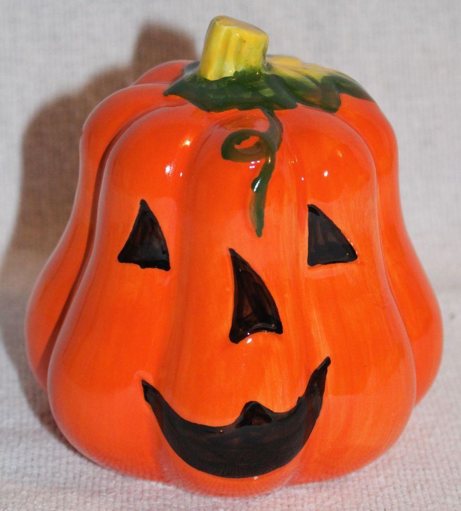 Ceramic Pumpkin Bank Happy Face 4 Inches Tall Pumpkin Halloween Fashion Special Halloween