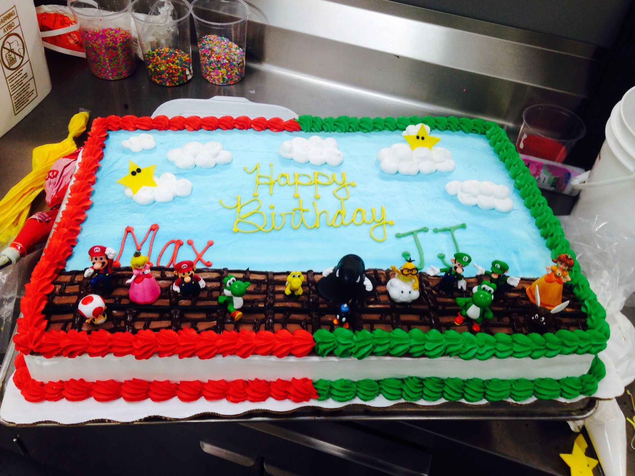 Custom order Mario bros cake Mario cake Luigi cake