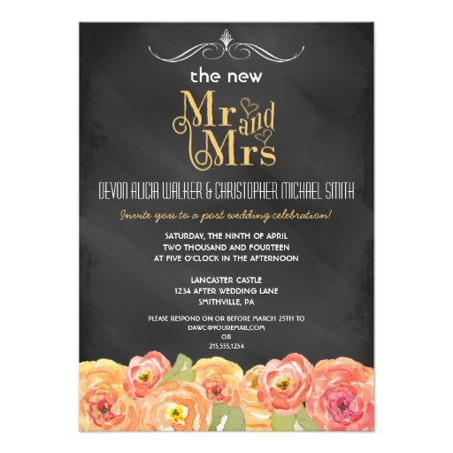 Post Wedding Party Invitation: Floral Chalkboard Post Wedding Party Invitation