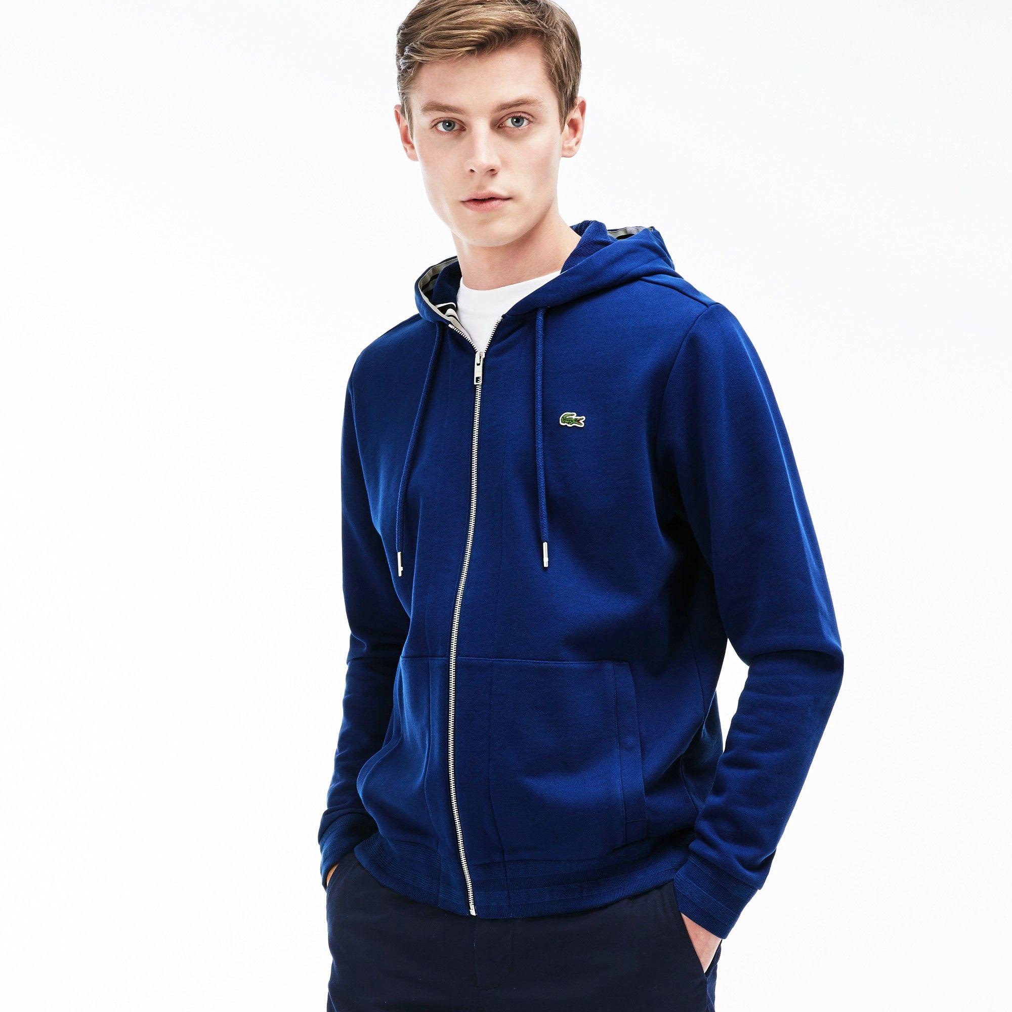 098ef4e6ff4c5 LACOSTE Men s Semi-Fancy Stripe Detail Fleece Hoodie - waterfall blue.   lacoste  cloth
