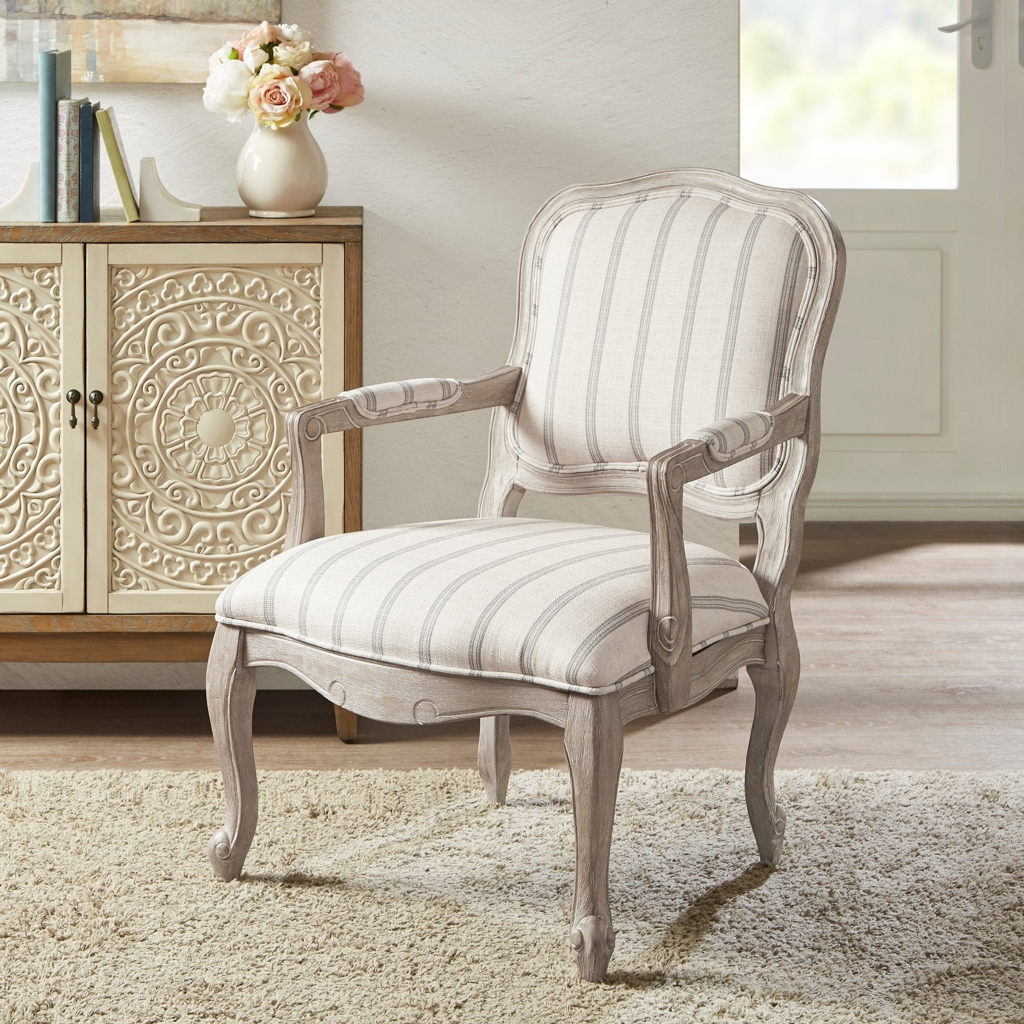 Best Madison Park Charlotte Natural Wood Fabric Accent Chair 640 x 480