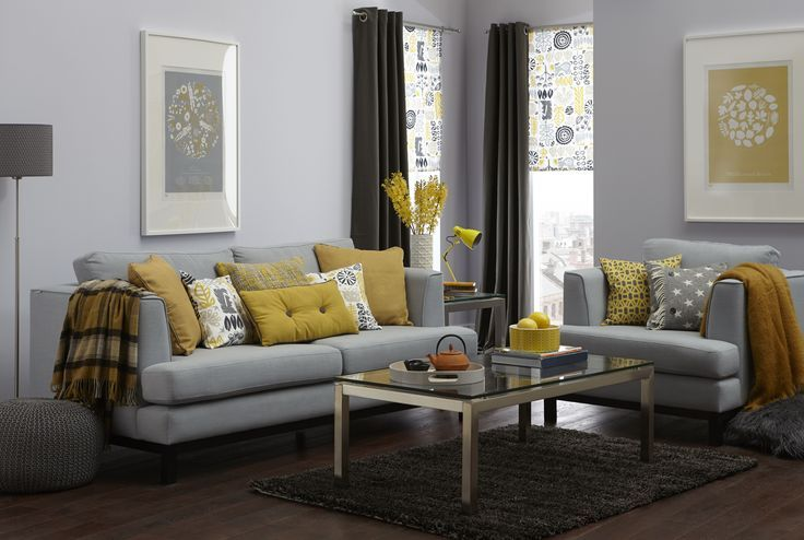 Gray Sectional Sofas Plus Yellow Cuhsion And Yellow Fabric With