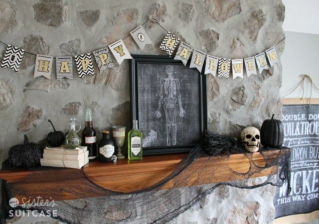 Halloween Mantel and Decor with American Crafts via