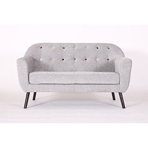 2 Seater Vintage Sofa Small Retro Couch Lounge Armchair Grey Living Furniture